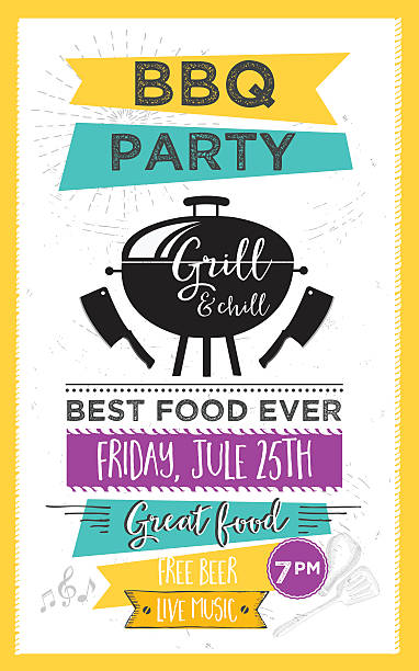 Barbecue party invitation. BBQ template menu design. Food flyer. vector art illustration