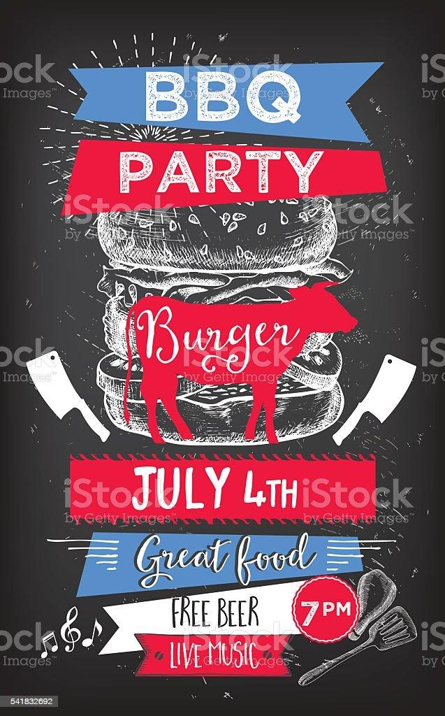 Barbecue Party Invitation Bbq Template Menu Design Food Flyer Stock ...