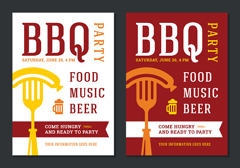 Barbecue party invitation flyer or poster design vector template