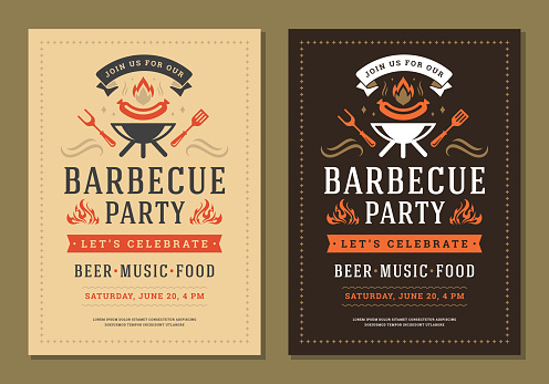 Barbecue party invitation flyer or poster design vector template. BBQ cookout event retro typography.