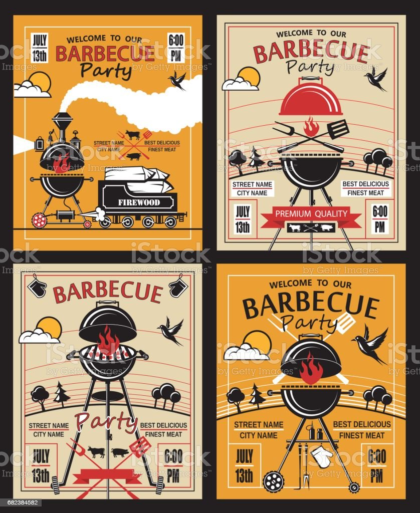 barbecue party invitation set vector art illustration