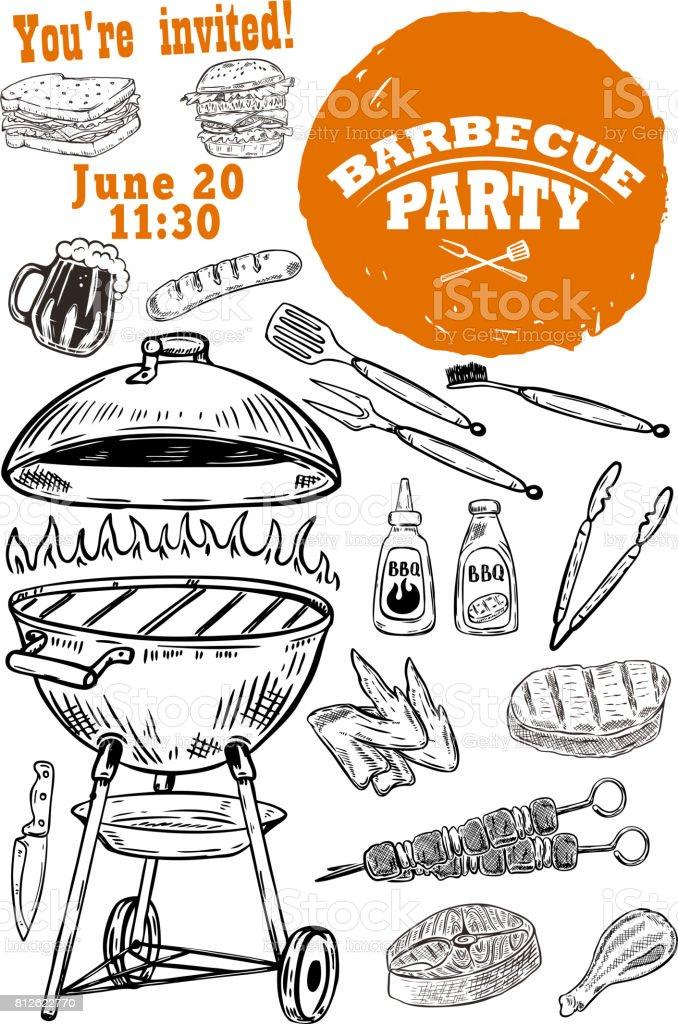 Favoriete Uitnodiging Sjabloon Van De Leverancier Van De Barbecue Hand  &ZZ68