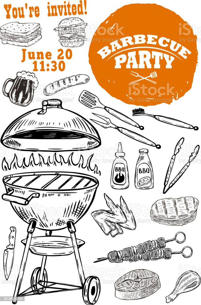 Barbecue party invitation template. Hand drawn BBQ and Grill design elements.Vector illustration vector art illustration