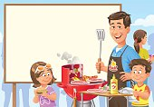 Vector illustration of a family and friends having a barbecue party. The father and his two children are standing at a barbecue grill in front of a big blank sign, ready for your text.