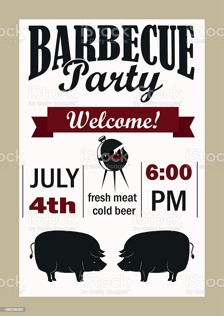 barbecue party invitation vector template stock vector art more