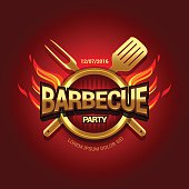 Barbecue party logo, party invitation template.