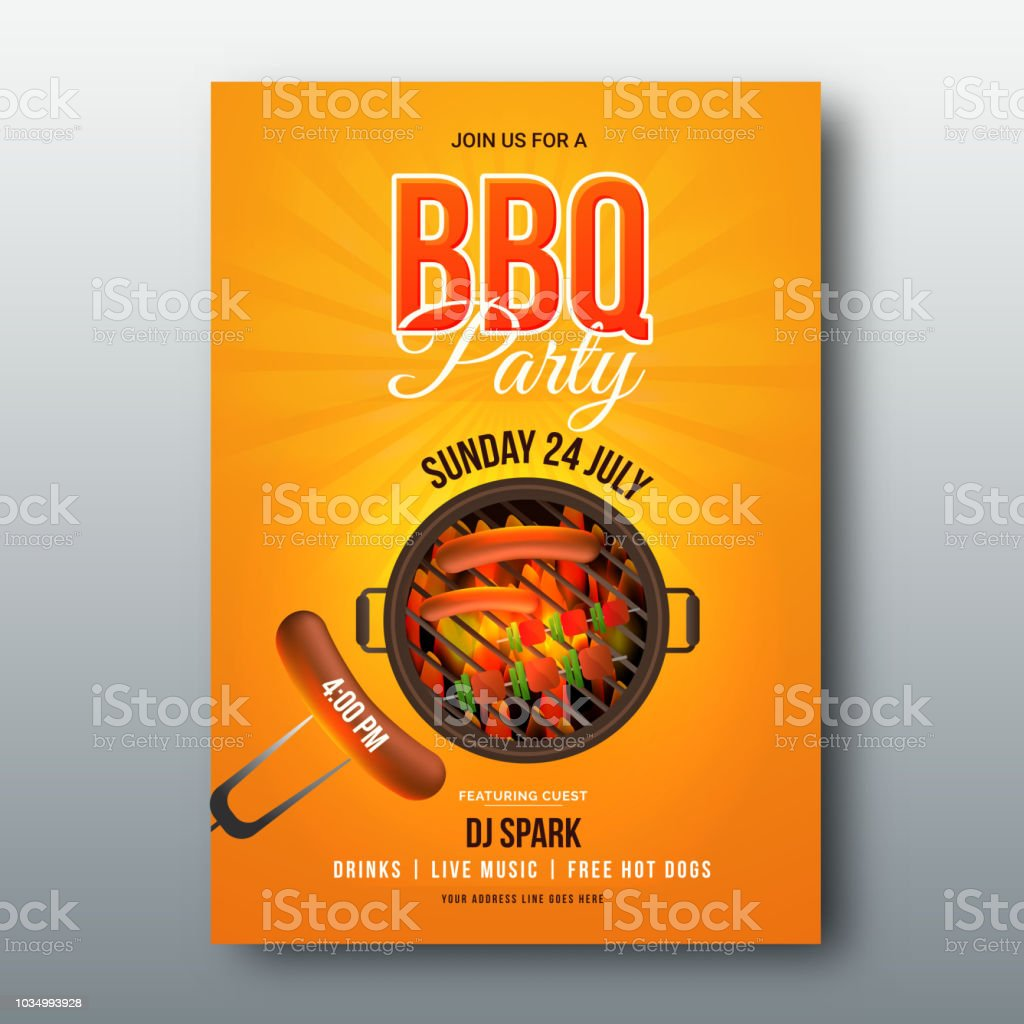 barbecue poster flyer template menu card or invitation design stock