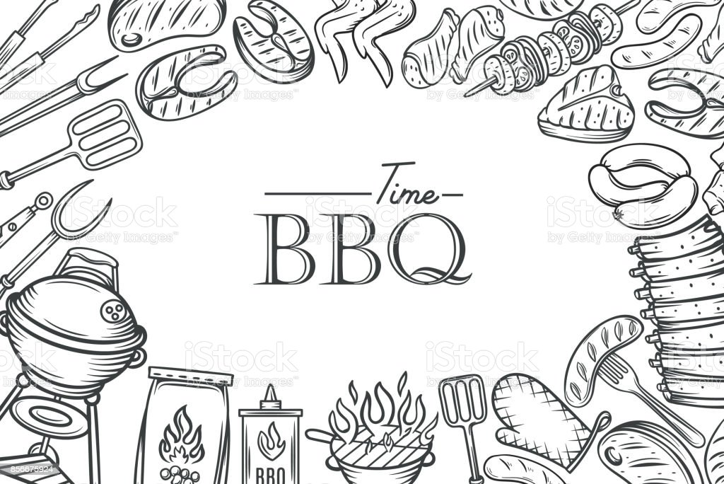Barbecue poster template vector art illustration
