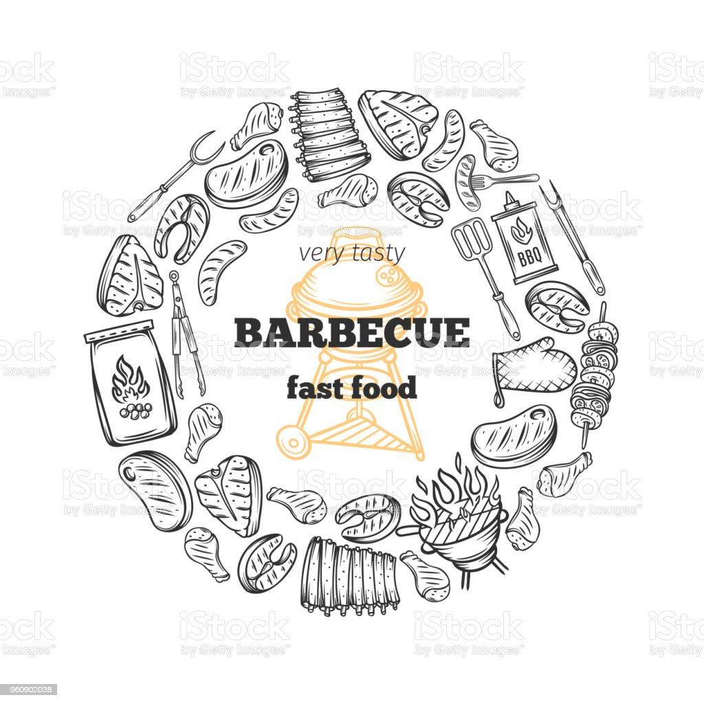 Barbecue poster. vector art illustration