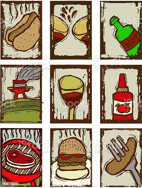 Barbecue Prints-vektorgrafik och fler bilder på Alternativ