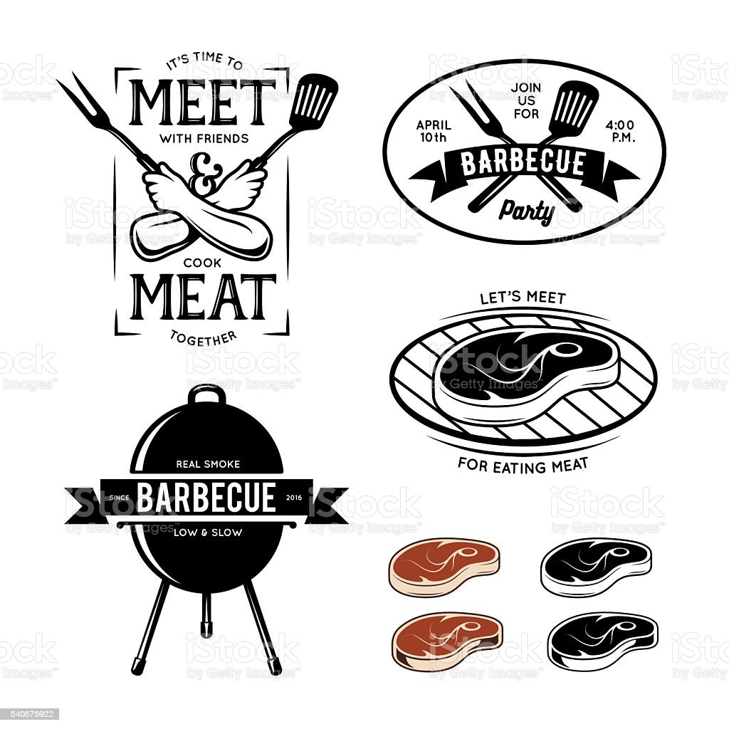 Barbecue related labels, badges and design elements. Vector vintage illustration. vector art illustration