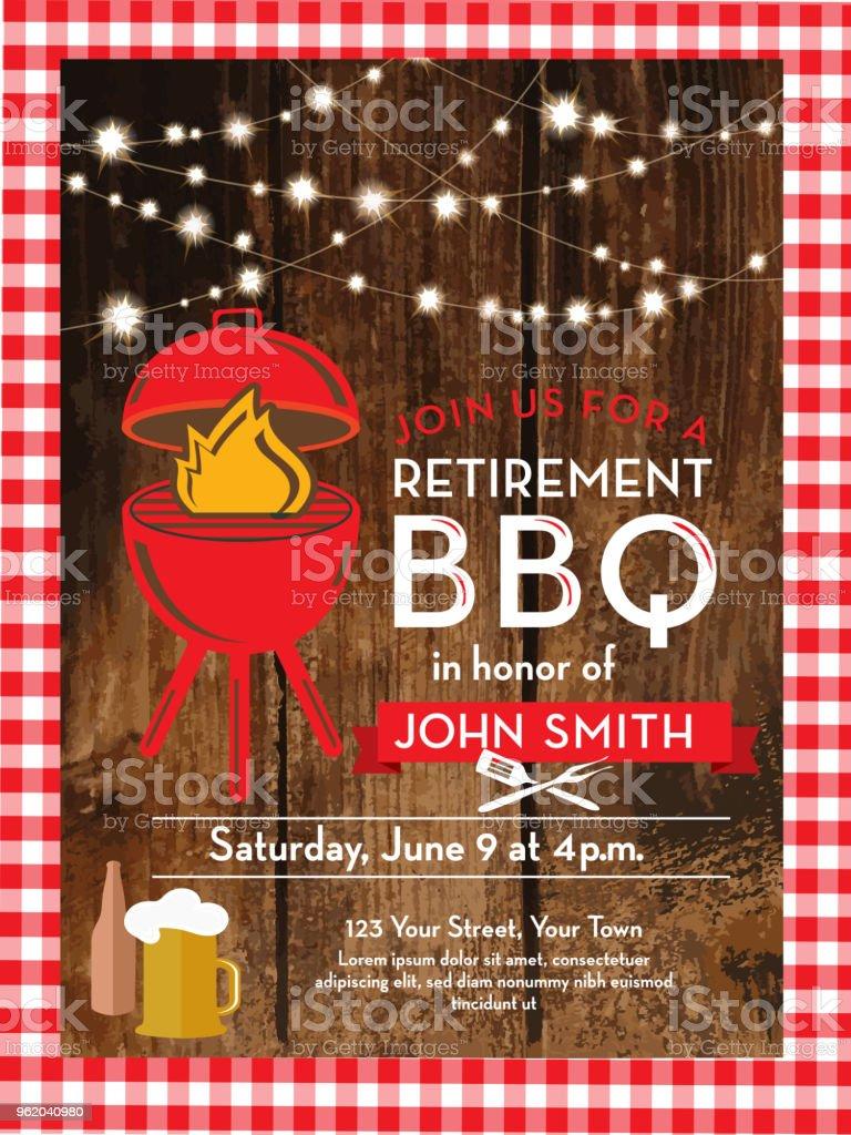Barbecue Retirement Party Invitation Design Template Stock
