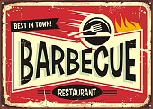 Barbecue retro sign design for fast food restaurant. Vector image.