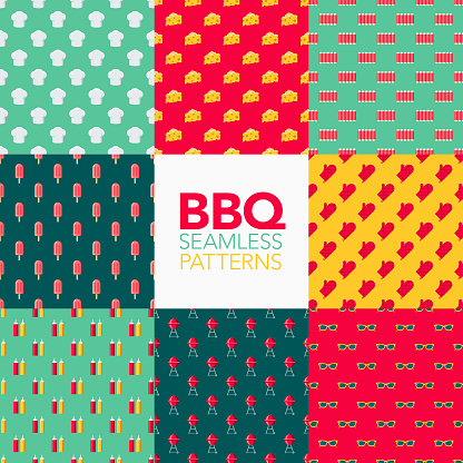 Barbecue Seamless Pattern Set