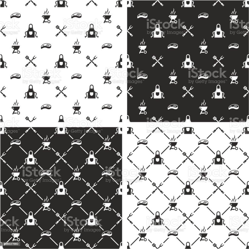 Barbecue Seamless Pattern Set vector art illustration