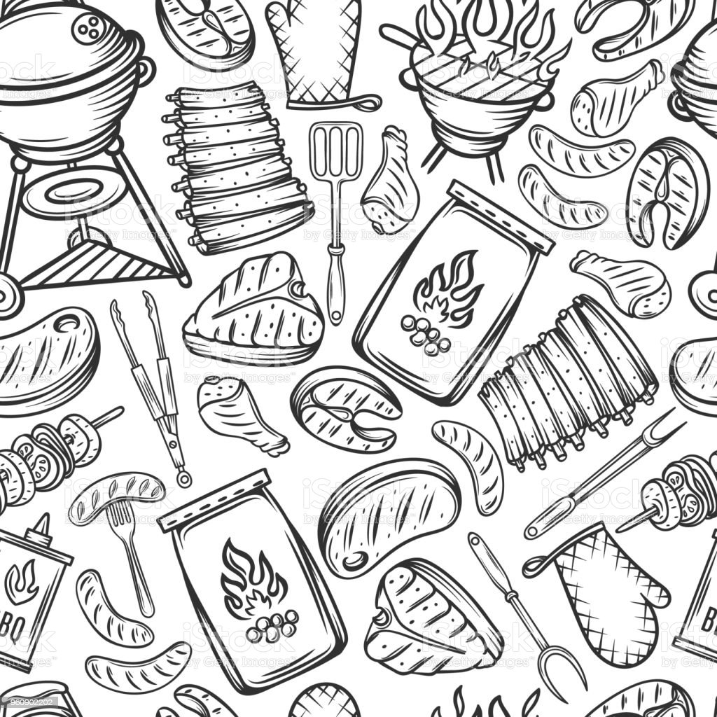 Barbecue seamless pattern vector art illustration