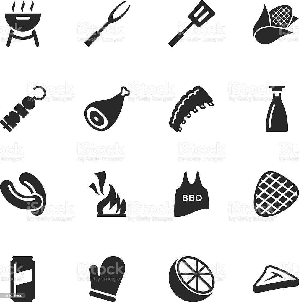 Barbecue Silhouette Icons vector art illustration