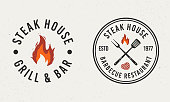 istock Barbecue, Steak house circle logo. Logo of Barbecue with fire, grill fork and spatula. Steak House logo template. Vector illustration 1152441951