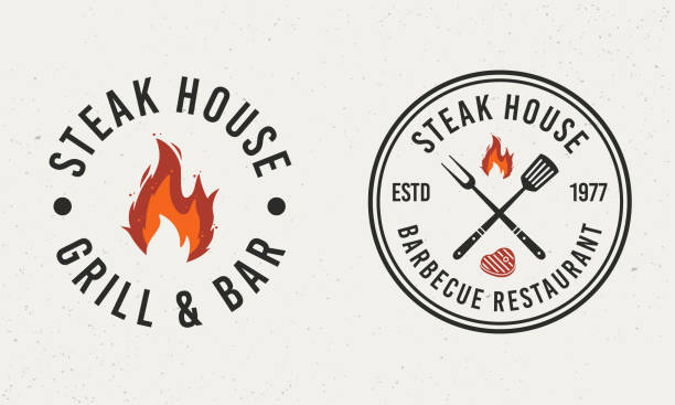 illustrations, cliparts, dessins animés et icônes de barbecue, logo de cercle de maison de steak. logo de barbecue avec le feu, la fourchette de gril et la spatule. modèle de logo de steak house. illustration vectorielle - barbecue