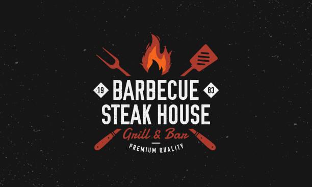 ilustrações de stock, clip art, desenhos animados e ícones de barbecue, steak house restaurant logo, poster. bbq grill logo with fire flame, spatula and grill fork. vector emblem template. - meat texture