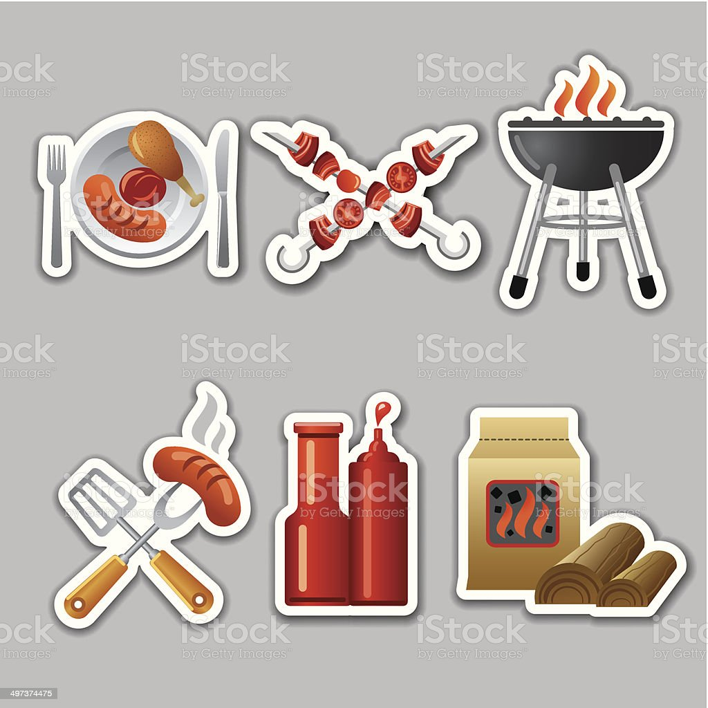 barbecue stickers royalty-free stock vector art