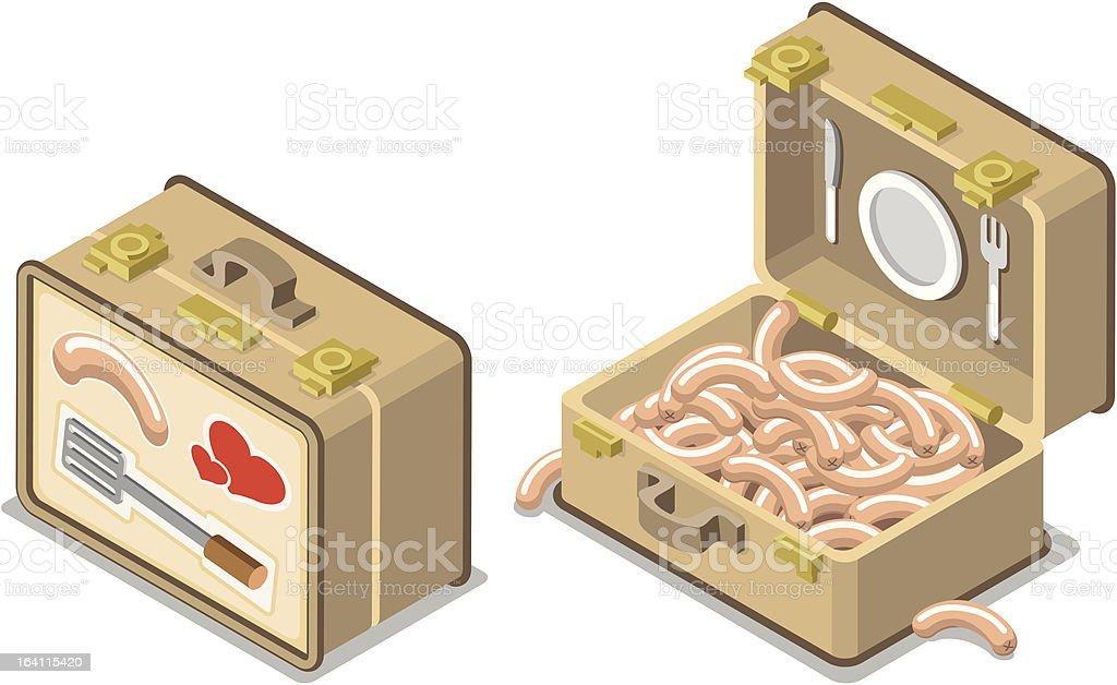 Barbecue suitcase with bratwurst (illustration) vector art illustration