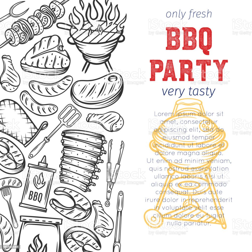 Barbecue template vector art illustration