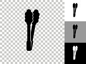 istock Barbecue Tongs Icon on Checkerboard Transparent Background 1241964852