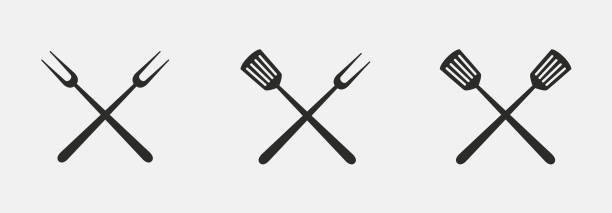 illustrations, cliparts, dessins animés et icônes de icônes d'outils de barbecue. fourche de gril et spatule isolé sur fond blanc. illustration vectorielle. - barbecue