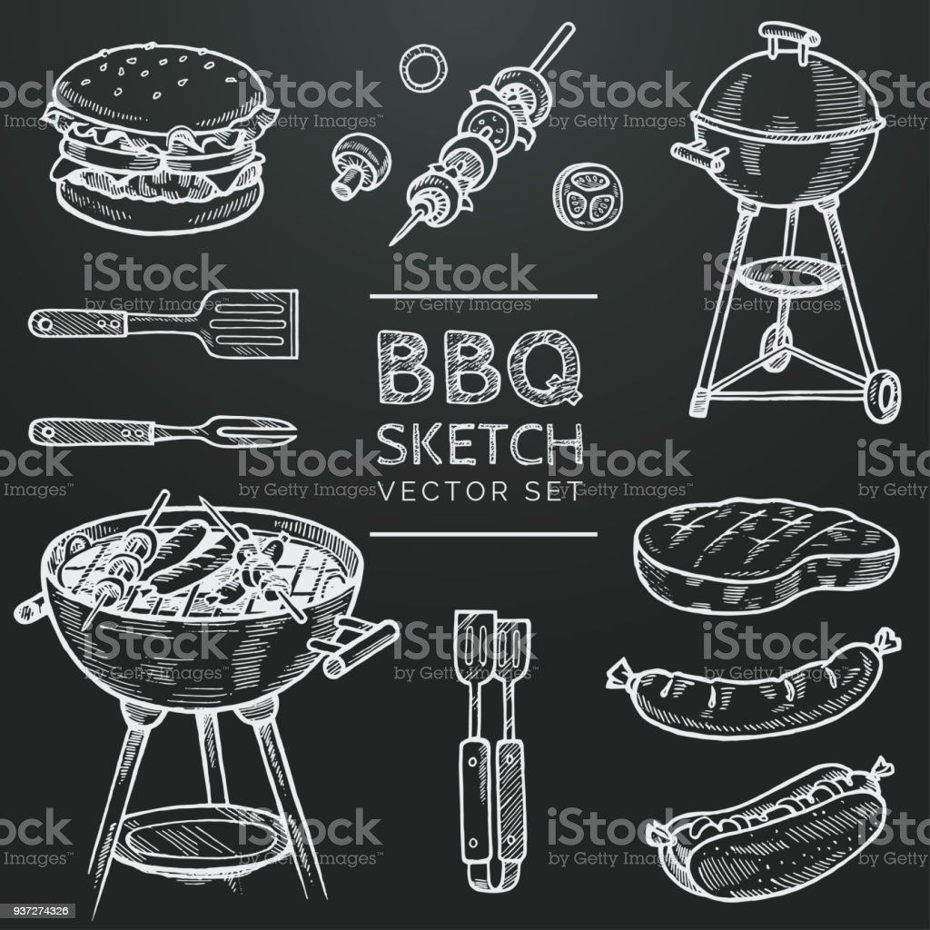 Barbecue vector chalk sketch set. Hand drawn grill, hamburger, skewer, hot dog, steak, sausage. Set for grilling doodle illustration. Bbq party hand drawn design elements. Eps 10 vector art illustration