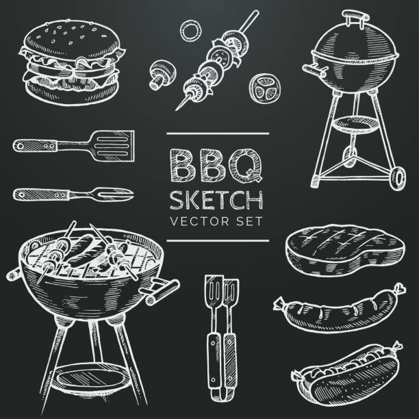 illustrations, cliparts, dessins animés et icônes de croquis de craie set de barbecue vector. grill dessiné, hamburger, brochette, hot dog, steak, saucisse à la main. la valeur pour les grillades doodle illustration. main de bbq partie repris des éléments de conception. eps 10 - barbecue