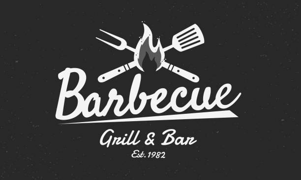 barbecue vintage logo. logo of grill and bar with fire, grill fork and spatula. bbq logo template. grunge texture. vector illustration - grill stock illustrations