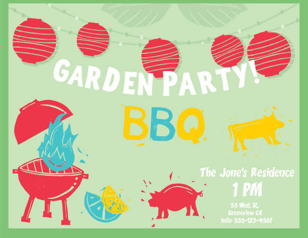 grill/garten party linolschnitt briefmarken - gartenparty stock-grafiken, -clipart, -cartoons und -symbole