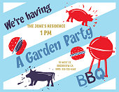 Set of cute, stamped BBQ/Garden Party invites made from hand-carved linocut block prints.