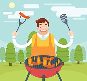 Barbecuing guy. Vector flat illustration