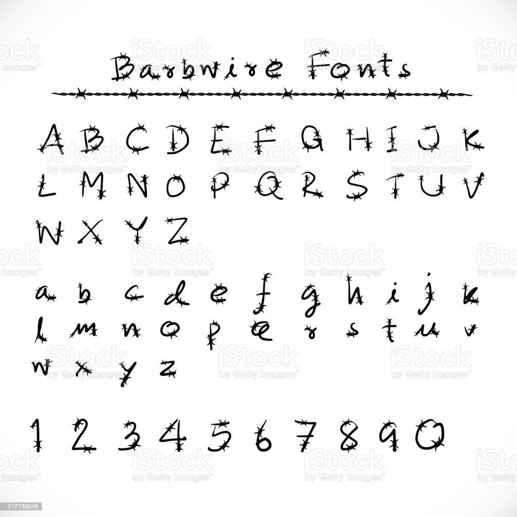 Superb Alambre De Espino Alfabeto Y Tipografías. Ilustración De Alambre De Espino  Alfabeto Y Tipografías Y