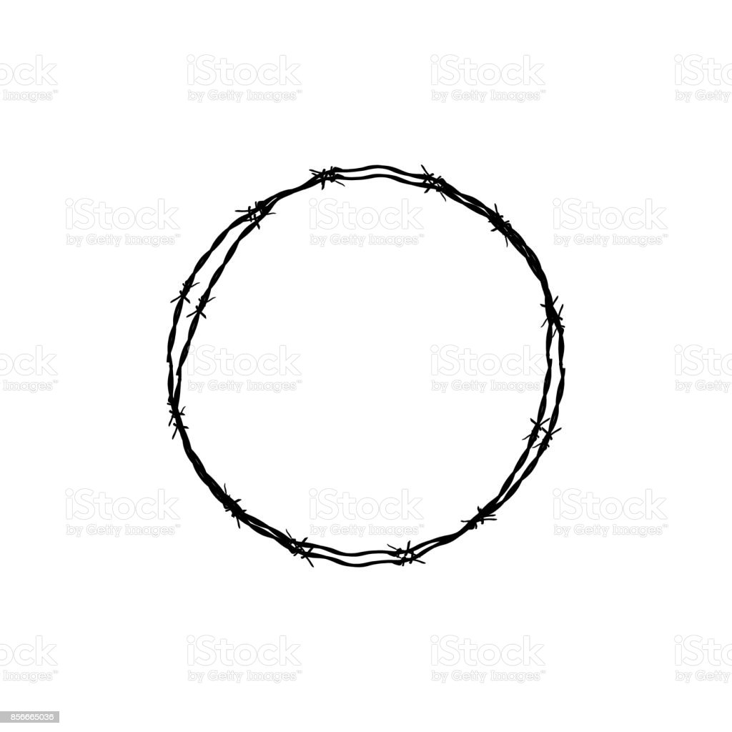 Barbed wire circle vector art illustration