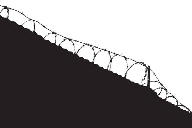 valla de alambre, mantener fuera - ilustración de arte vectorial