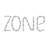 """barbed wire inscription """"zone"""" isolated on white background"""