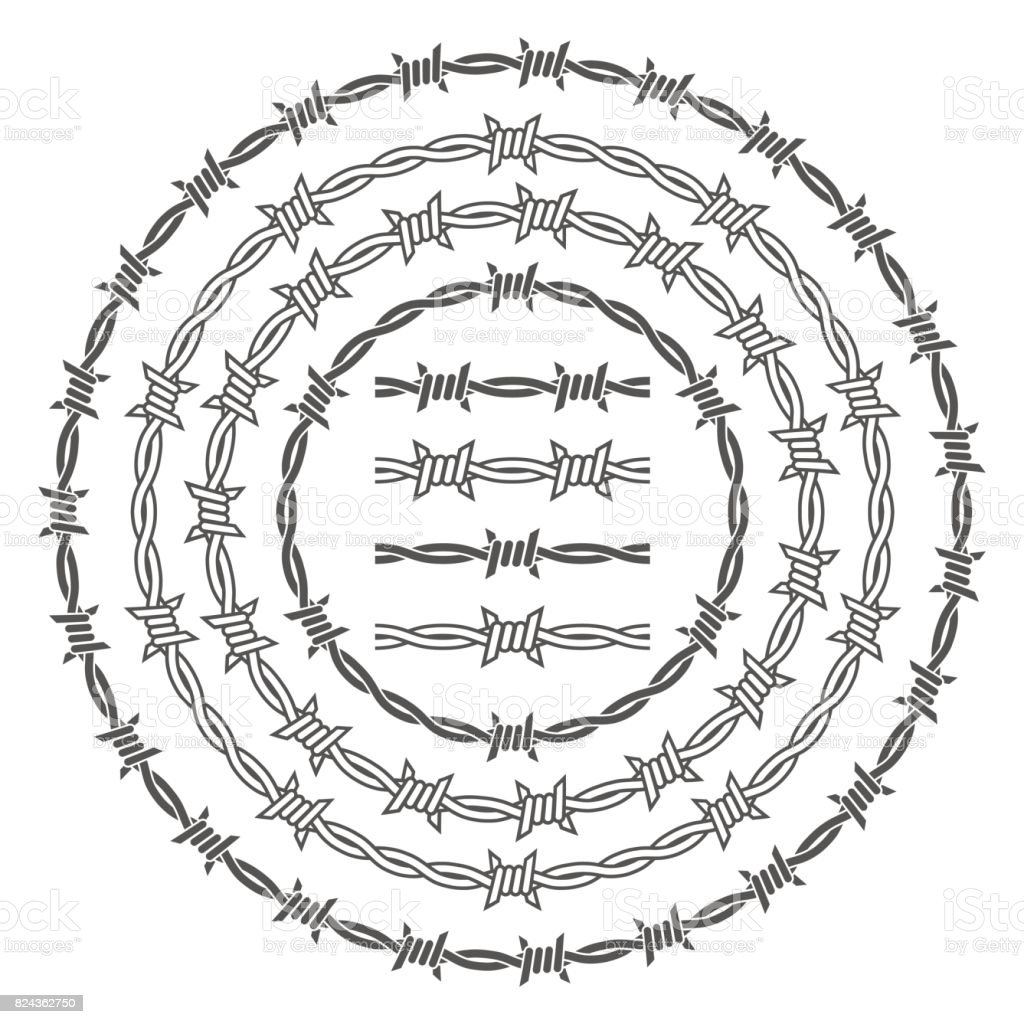 Barbed wire rings vector set vector art illustration