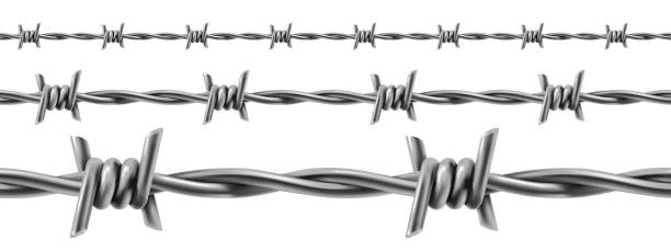 barbed wire seamless, 3d vector - spiked stock illustrations