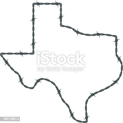 Outline of the Lone Star State in barbed wire.