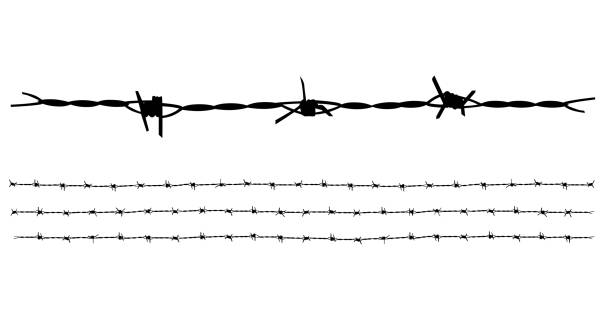 barbed wire vector collection isolated on white background. - spiked stock illustrations