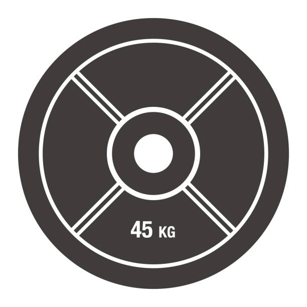 Barbell Plate Icon Vector of Barbell Plate Icon weight stock illustrations