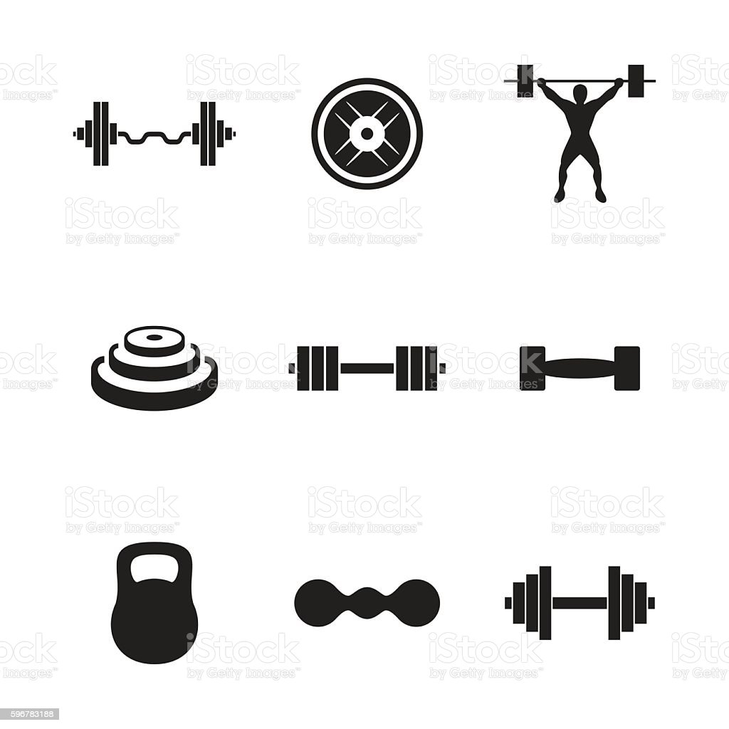 Barbell vector icons vector art illustration