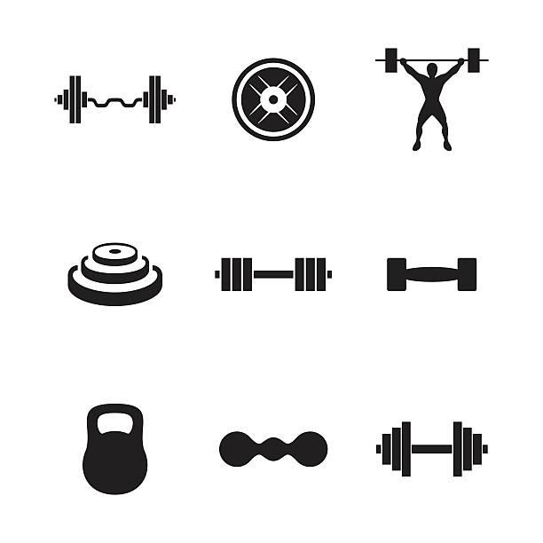 ilustraciones, imágenes clip art, dibujos animados e iconos de stock de barbell vector icons - entrenamiento con pesas