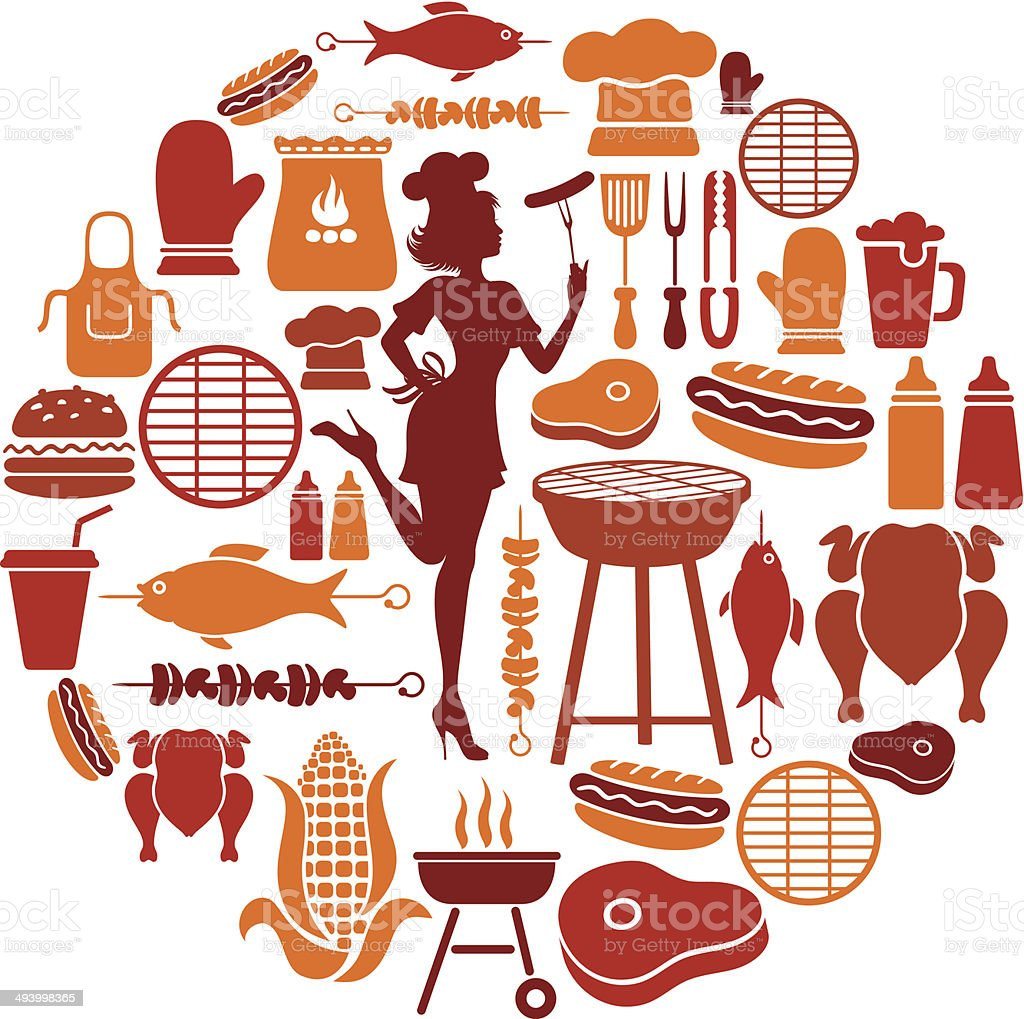 Barbeque Collage vector art illustration
