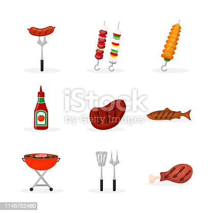 Barbeque food flat illustrations set. Grilled pork, chicken meat and fish vector isolated cliparts. Fried sausages, kebab, vegetables. BBQ cutlery, grill pack. Cooked meal for picnic, outdoor party
