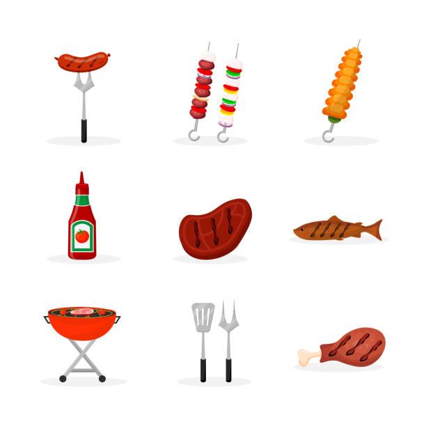 bildbanksillustrationer, clip art samt tecknat material och ikoner med grill mat platta illustrationer som - korv