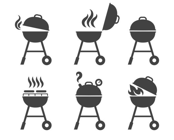 illustrations, cliparts, dessins animés et icônes de barbecue grill icônes - barbecue